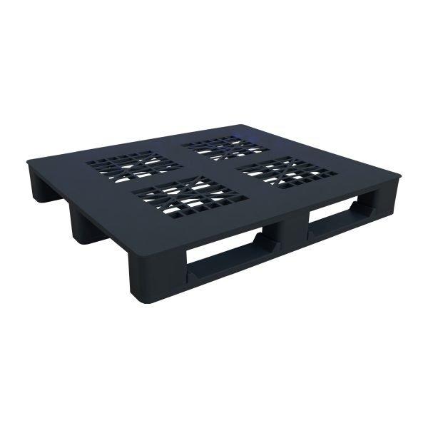 genel amaçlı plastik palet 100x100cm siyah kızaklı delikli
