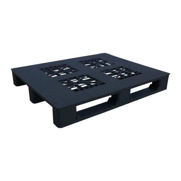 genel amaçlı plastik palet 100x110cm siyah kızaklı delikli