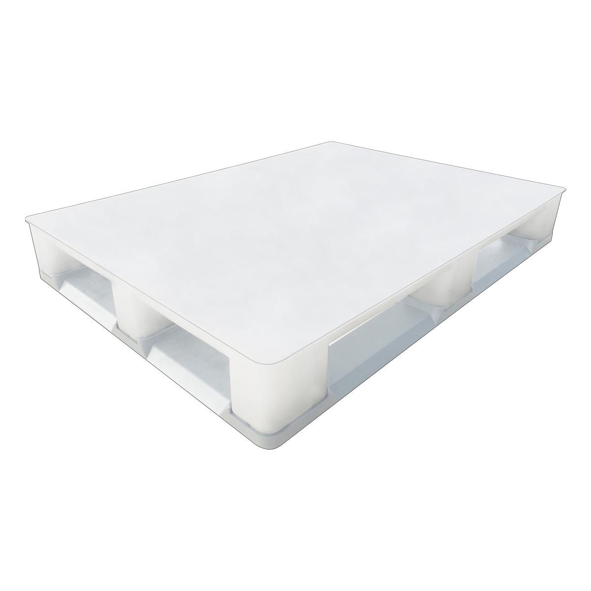 Hijyenik Plastik Palet h tipi 100x120cm beyaz kapalı kızaklı