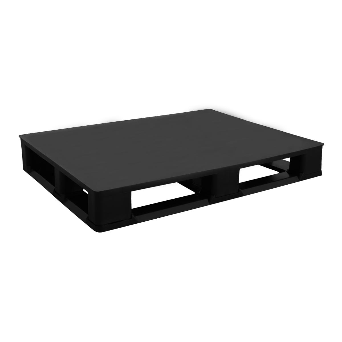 h tipi plastik palet 100x120cm siyah kızaklı kapalı