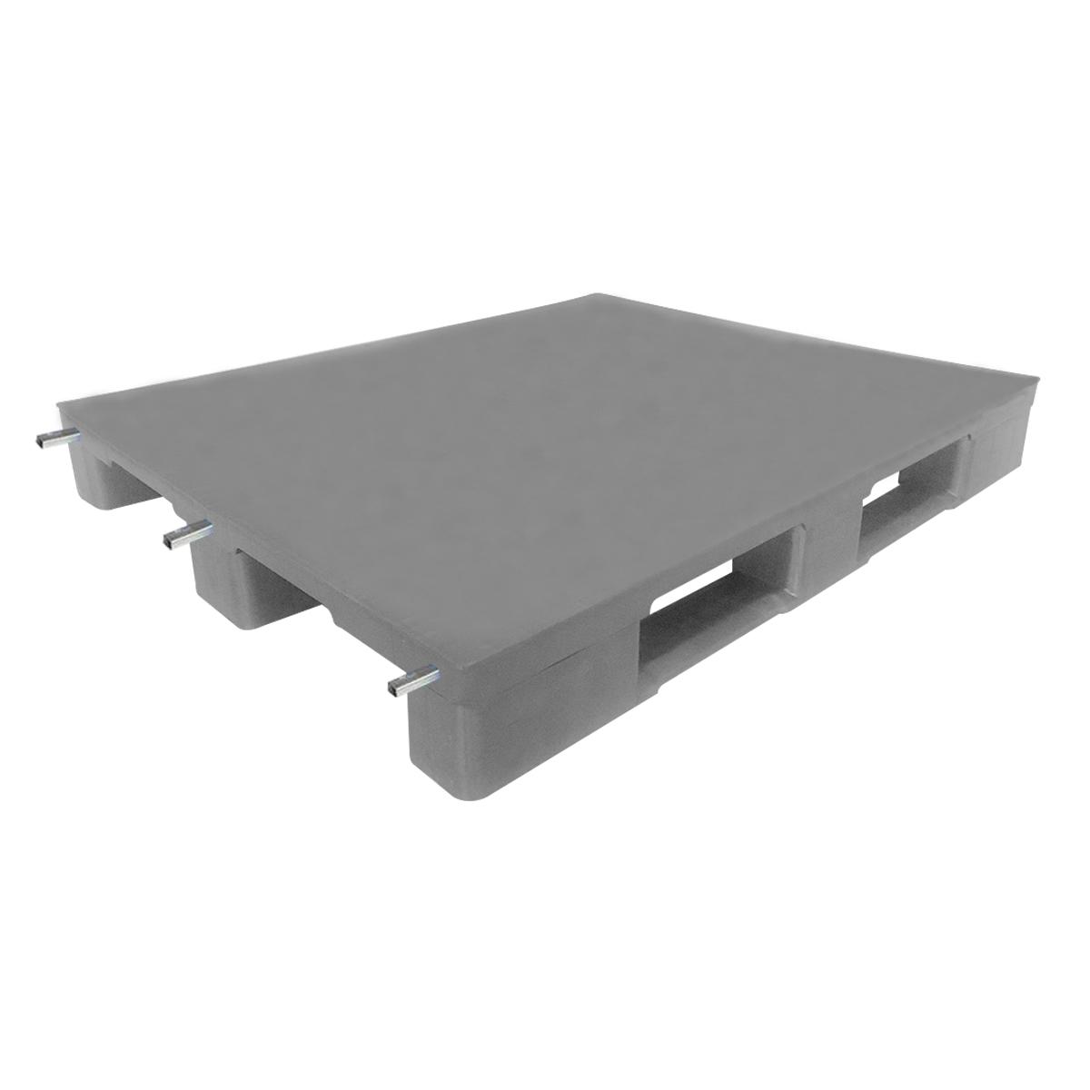 Profilli Yük Paleti 100x120cm gri kapalı 3xprofilli