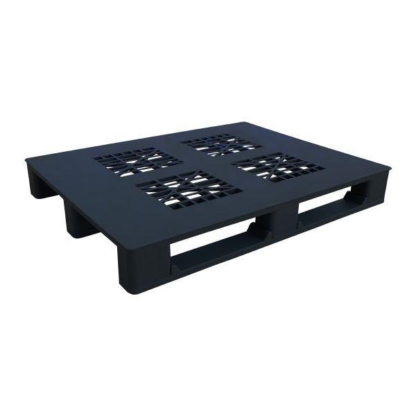 genel amaçlı plastik palet 100x120cm siyah kızaklı delikli