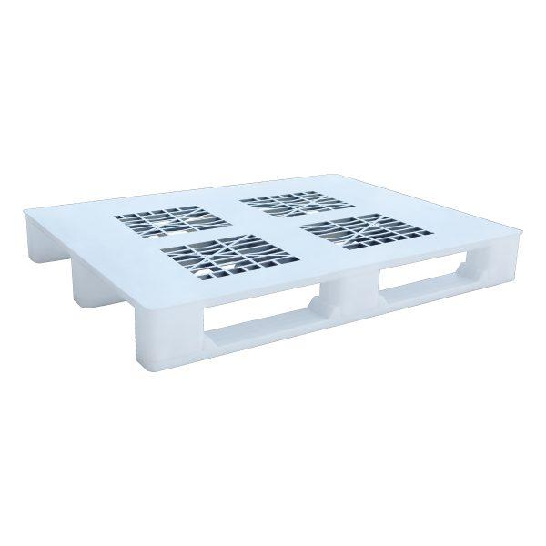 Hijyenik Plastik Palet 100x130cm beyaz delikli kızaklı