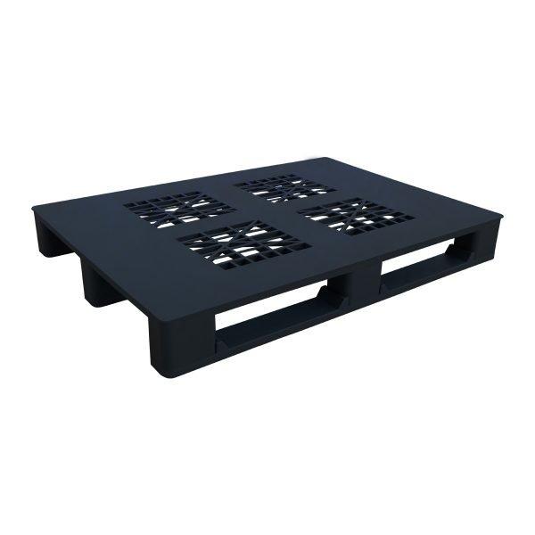 genel amaçlı plastik palet 100x130cm siyah kızaklı delikli