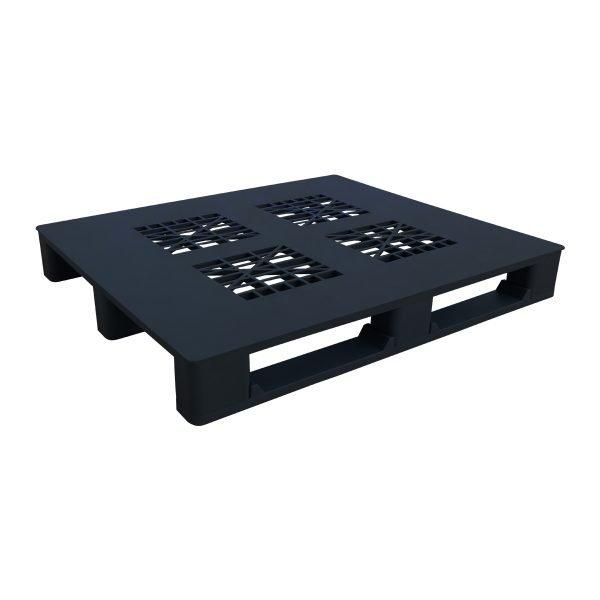 genel amaçlı plastik palet 110x120cm siyah kızaklı delikli