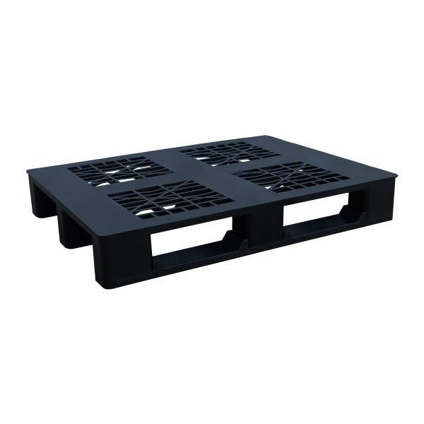 genel amaçlı plastik palet 80x100cm siyah kızaklı delikli