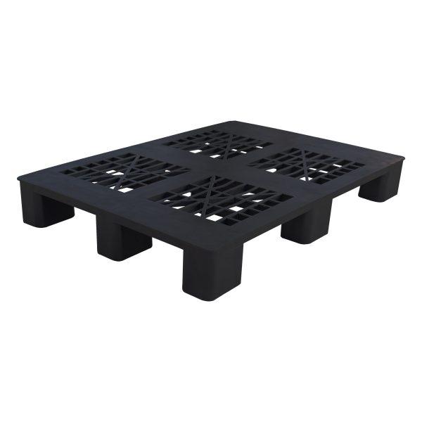genel amaçlı plastik palet 90x110cm siyah kızaksız delikli