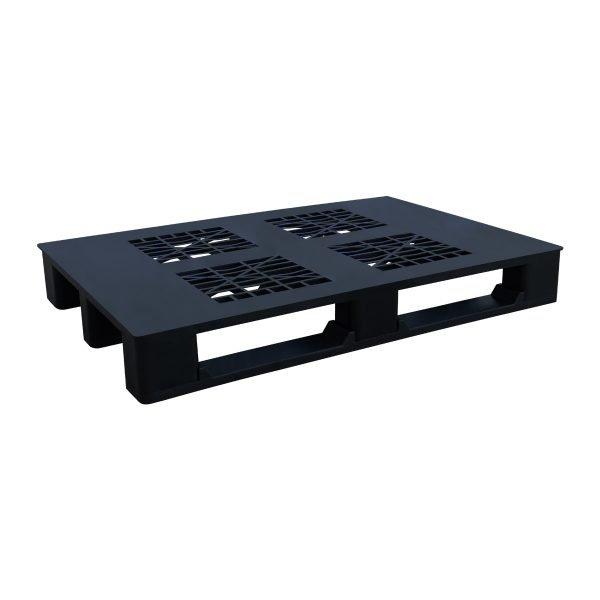 genel amaçlı plastik palet 90x130cm siyah kızaklı delikli