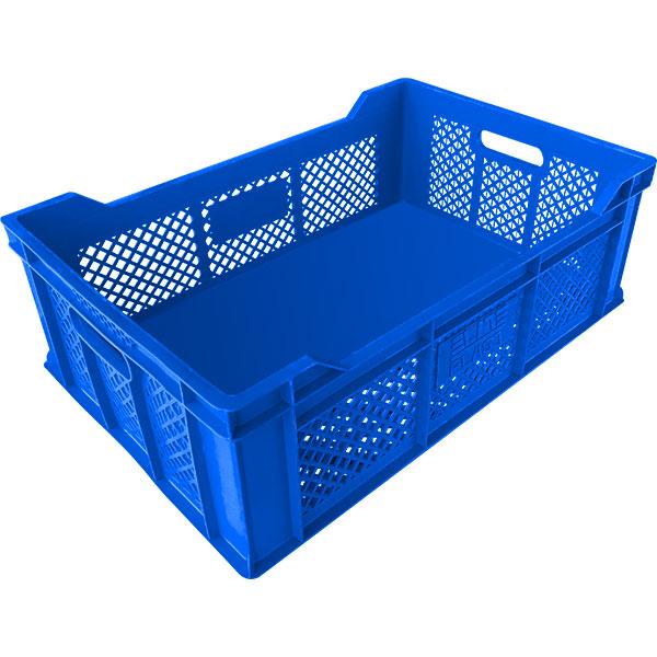 plastik kasa tabanı kapalı balkonlu tip sanayi kasası 400x600x200mm mavi
