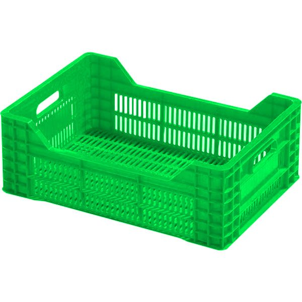 genel amaçlı plastik kasa delikli 370x530x210mm yeşil