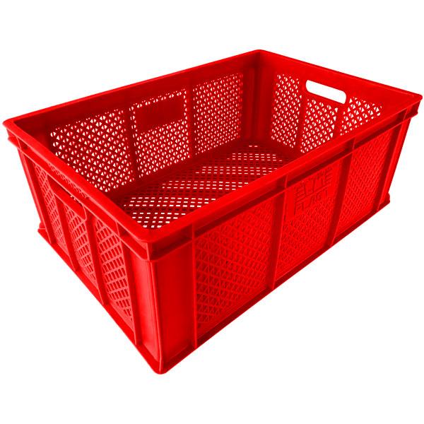 plastik kasa delikli tip sanayi kasası 400x600x240mm kırmızı